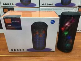 Wholesale 2016 New Pulse Portable Bluetooth Speaker Super Bass Wireless Mini Speakers Sound Box Built in Flash LED Light Mic TF AUX USB Disck