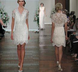 2016 New Cheap Short A Line Lace Wedding Dresses V Neck Short Sleeves Wedding Dresses Spring Summer Mini Beach Bridal Gowns Custom Made