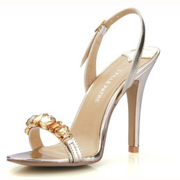 Gold Silver Crystal Wedding Shoes Slingbacks Women One-strap Summer Style Ladies Sandals Daily OL Sandals For Brides Shoes Large Size 11