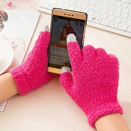 Wholesale-Brand Coral Fleece Girls Gloves Winter Mittens Warm touch screen christmas Thicken Women Men For mobile phone tablet pad