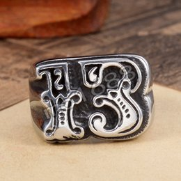 Jewelry Numbers Lucky 13 Biker Black Silver Gothic 361L Stainless Steel Ring Size 7-13
