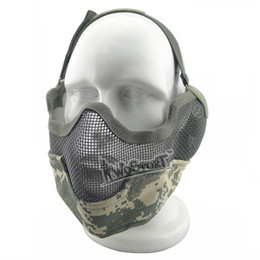 Wholesale Half face protect metal net mesh protect mask tactics airsoft hunting Military mask colors