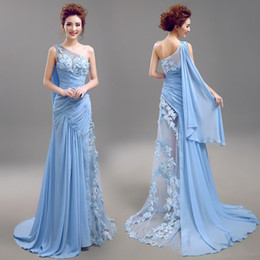 Exquisite One Shoulder Sweep Train Applique Evening Dresses high quality Beading Chiffon Crystal Formal dresses Prom  Homecoming Dresses
