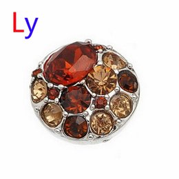 Wholesale Hot Sale Snap Buttons Jewelry mm Buttons Fashion DIY Charms Crystal Snaps Antique Metal Buttons orange and jacinth AC103