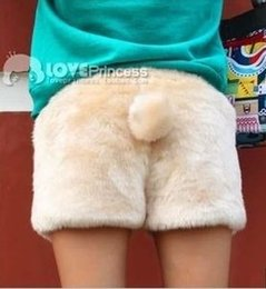 Wholesale Autumn winter women s plush velvet fleece warm boot cut faux fur shorts trousers cute kawaii bear rabbit tail leopard shorts