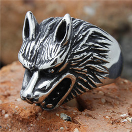 1pc Hot Selling Wolf Head Animal Ring 316L Stainless Steel Popular Punk Cool Man Boy Animal Ring