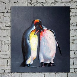 Wholesale 100 Hand Painted Modern Wall Art Picture For Home Decoration Two Lovely Penguins Cartoon Animal Oil Painting On Canvas JL