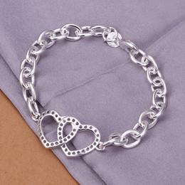 Hot sale christmas gift 925 silver Double Heart Bracelet DFMCH316, Brand new 925 sterling silver plate Chain link bracelets high grade