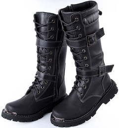 Wholesale New Arrival Men s Knee High Boots Black Buckles Lace Up Leather Outdoor Martin Winter Cowboy Combat Boots US Size