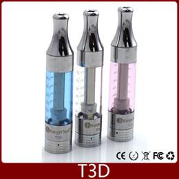 Wholesale Kanger T3D Clearomizer Kangertech T3 D Replaceable Dual Coil eGo Thread Eliquid Vaporizer Tank Mix Colors VS T3S Atomizer