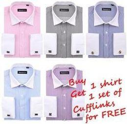 Promotion boutons de manchette de smoking Gros-Get Cufflinks gratuitement! Robe française Mens luxe shirt / chemise de smoking t-shirt de mariage d'affaires chemise de chemise s-4xl taille plus