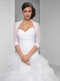 NEW Bridal Jackets Boleros Wedding Ivory White Tulle Bolero Shrug 3 4 Long Sleeves Bride Jacket