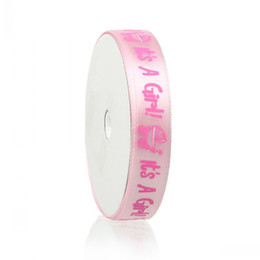 """Beijia Terylene Satin Baby Shower Decoration Ribbon Pink Baby Carriage&""""It's A Girl"""" Pattern Baby Girl 15mm,1 Roll(18.4M)"""
