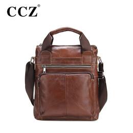 Wholesale-CCZ Business Men Briefcase Brown Shoulder Bags Briefcase Genuine Leather Man Messenger Bag Cowhide Men Cross Body Handbag SL118M