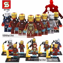 Wholesale 80pcs SY185 Super Heroes Series different design Iron Man mini figure construction building brick blocks mini figure free ship
