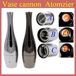 Vase cannon Bowling Atomizer Dry Herb Vaporizer wax Dual Coil Rebuildable Stainless Steel Black Gold Vase Shape Metal Vapor E Cigs AT120