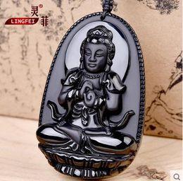 Wholesale Authentic ice Obsidian Samantabhadra Pendant Zodiac snake necklace and a patron saint of natal Buddha