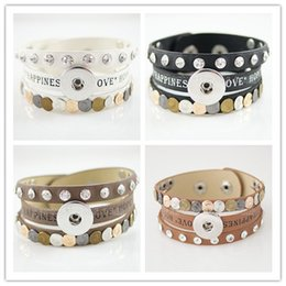 Wholesale-Best sellers Interchangeable 21.5CM real leather snaps bracelets snaps jewelry most popular fit ginger snaps KB0834
