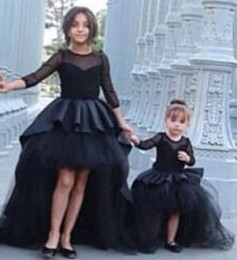 Custom Made Black A line Girl's Pageant Dresses Jewel Neck Hi-lo Puffy skirt Flower Girls' Formal Dresses with Long Sleeves Short Prom Gowns