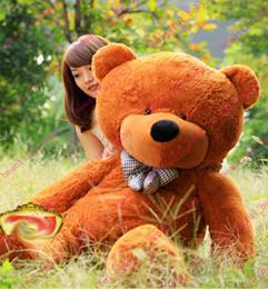 Acheter en ligne Les brunes-Nouvelle arrivée 6,3 pieds ours en peluche peluche léger brun géant JUMBO 72quot ; cadeau d'anniversaire de taille : 160 cm