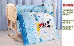 Wholesale 2015 Hot Cute cartoon Mouse pattern Baby Crib Bedding Set with Bumper for Girls and Boys Infant Selected High Quality Pure Cotton Fabrics
