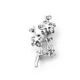 Free Shipping ! Wholesale Beautiful Small Size Silver Tone Japanese aprico Flower Pin Brooch with Rhinestone Crystals