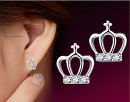 2015 New Fashion simplicity hypoallergenic earrings 925 Sterling Silver Stud Earrings Princess Crown Crystal Earrings For Women