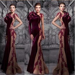 Burgundy hot sale mermaid velvet prom dresses 2018 winter fall sexy high neck court train formal evening gowns
