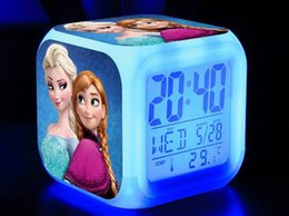 Wholesale Frozen Colors Changing LED Touch Sensing Digital Alarm Clock Gift Toys For Children Kids Watches Clocks