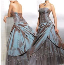 Wholesale Army Green Quinceanera Dresses Cheap Under Strapless Embroidery Ruffles Sweet Masquerade Girls Party Prom Ball Gowns
