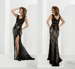 Sexy Black Lace Nude Prom Dresses 2016 Cheap V neck Backless Side Split Sequin Beaded Long Evening Formal Pageant Dress Gowns