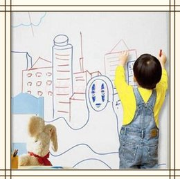 Wholesale 1000pcs CCA3148 Kids CM PVC Whiteboard Wall Sticker Decal Vinyl Removable DIY White Board Sticker With Marker Pen With Retail Package
