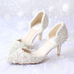 Shining Crystal Beaded Bridal Shoes Appliqued Pure Color Pointed Toe Wedding Accessory Walking Comfortable Various Heel Prom Shoe