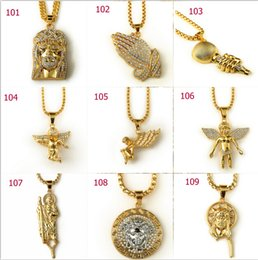 Wholesale Hip hop long necklace K gold plated High quality crystal jesus piece pendant Fashion Jewelry for women men mixed styles