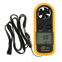 Wholesale GM816 Inch LCD Handheld Pocket Digital Anemometer Wind Speed Air Flow Meter Temperature Gauge Thermometer