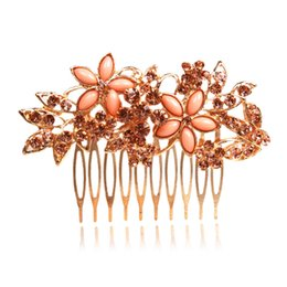 Wholesale best selling wedding jewelry two corlor of flowers crown Rhinestone Bridal Hair Comb Clip women party prom event assurance in stock
