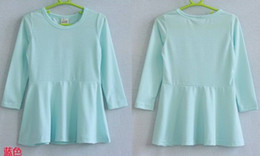 Wholesale-Free shipping ! Girls cotton one-piece dress solid ruched design 7 color girls dress