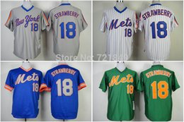 2016 New Retail Wholesale Hot sale baseball Jersey New York Mets ny 18 Darryl Strawberry green white  grey  blue color jerseys throwback