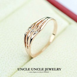 Rose Gold Color 3 Rhinestones Wave Design Woman Finger Claassic Ring Wholesale