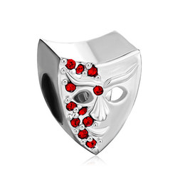 Garnet Red Bling Swarovski Crystal Mask Bead in gold Plating European Fits Pandora DIY Charm Bracelet