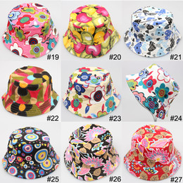 Wholesale Children Plain Stocking - 50pc lot Factory Sale Children Bucket hat Flowers kids Casual Caps 36 styles all have stock