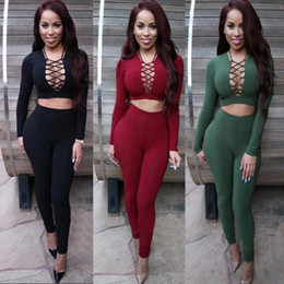 2016 Hot Europe and the United States Fashion Women Night Club Dress Jumpsuits In Store Long Sleeve Cross Night Club Top and Pants Suits
