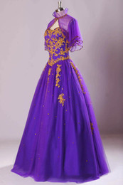 Real Image Organza Vintage Purple Prom Dresses Sweetheart Gold Appliques Pleats Sheer Bolero Lace Up Back Quinceanera Dresses formal party