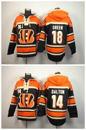 Wholesale Top Quality A J Green Andy Dalton Black Stitched Football Hoodies Men s Sweatshirts Winter Jacket Embroidery Logos
