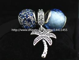 High quality 925 Sterling Silver Charms and Murano Glass Bead Set with Charm Box Fits European Pandora Jewelry Charm Bracelets-Seabreeze Set