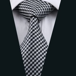 Houndstooth Pattern Ties Silk Jacquard Woven 8.5cm Width 150cm Length Formal Work Suit Neck Tie D-0774