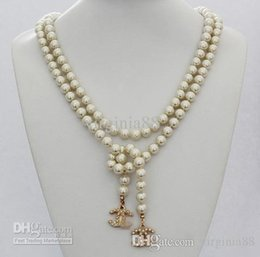 Wholesale high quality party or wedding sweater wearing stamped camellia long glass pearl necklace with box