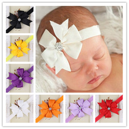2015 New Baby Ribbon Butterfly Flower Headbands With Rhinestone Girl Elastic Hair Bow Hairbands Hair Accessories Christmas Hair Ornaments