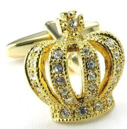 Rhodium Plated Men's Novelty Crown Cubic Zirconia Shirts Cufflinks Wedding Color Gold Drop Shipping