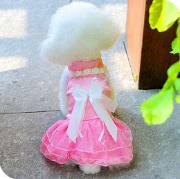 Wholesale Retail Pet dog Puppy wedding pink white purple Skirt Lace wedding Dress Costume Clothes Princess Apparel Clothes Dog bowknot Wedding dress